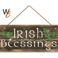 "Irish Blessings Sign, Rustic And Distressed Style, Holiday Door Sign, 6"" x 14"" Sign, St. Patrick's Day Sign, Irish Decor, Made To Order"