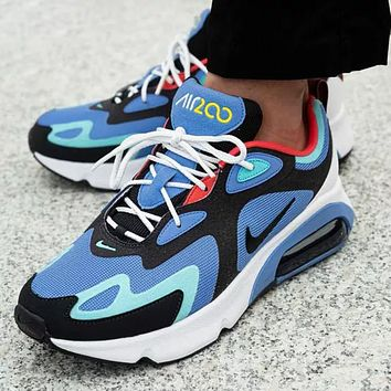 Nike Air Max 200 Men Fashion New Hook Running Sports Leisure Shoes Blue