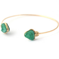 Open Druzy Bangle - Wintergreen