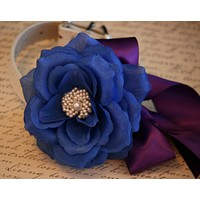 Royal Blue and Purple Floral Dog Collar wedding, Pet wedding, Floral wedding