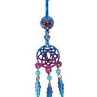 "14G 3/8"" Steel Purple And Blue Dreamcatcher Navel Barbell"