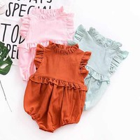 Ruffles Collar Baby Girl Summer Romper
