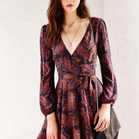 Ecote Ruby Paisley Mini Wrap Dress - Urban Outfitters