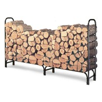 Outdoor 8ft Firewood Rack Wood Log Storage Sturdy Tubular Steel