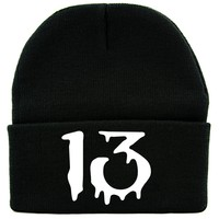 White Number Thirteen Lucky 13 Cuff Beanie Knit Cap Goth Punk