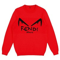 Fendi new cotton knit crew neck pullover long sleeve sweater black