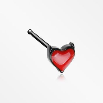 Blackline Devil's Heart Nose Stud Ring