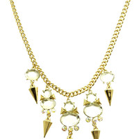 NECKLACE / FACETED HOMAICA STONE / BIB / AURORA / METAL SETTING / LINK / CHAIN / 16 INCH LONG / 2 1/4 INCH DROP / NICKEL AND LEAD COMPLIANT
