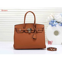 """Vsgirlss """"Hermes"""" new ladies fashion simple casual top layer leather lychee pattern shoulder bag Brown"""