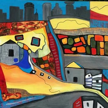 """""""City Walk On Foot"""" by Judith Visker, Acrylic on Stretched Canvas"""