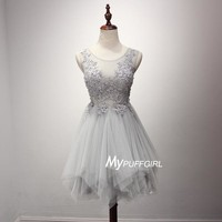 Silver Grey Illusion Tulle Sheer Back Cocktail Dress With Lace Appliques