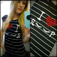 SIMPLE - I Love Sleep Cotton Stripes Printed Round Necked T-Shirt Top a11152