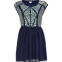 Navy embellished panel skater dress - party / evening dresses - dresses - women