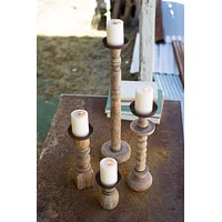 Set Of 4 Recycled Turned Wood Candle Holders