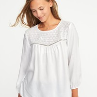 Relaxed Lace-Yoke Top for Women   Old Navy