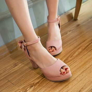 Summer Back Bow Women Sandals Platform Pumps High Heels Shoes 2016 9584