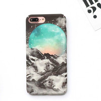 Fashion Cool Moon Space Starry Sky Case For iphone 7 Case For iphone7 6 6S Plus Hard Cover Beauty Snow Mountain Phone Cases -0329