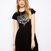 ASOS Skater Dress With Embroidered Heart In Acid Wash