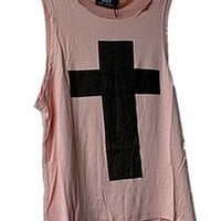 Pink Color with Cross Pattern Cotton Vest [711]
