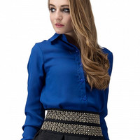 Blue Chiffon Long Sleeve Collar Blouse