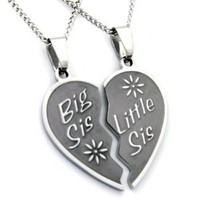Big Sis & Lil Sis Heart Necklaces and two chains. Two Heart Heart Style jewelry Pendants (with FREE Velvet Pouch)-Best Seller Necklace