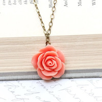 Coral Rose Necklace Romantic Shabby Chic Floral Jewellery Bridesmaids Jewelry Bridal Wedding Flower Pendant Botanical Garden Accessories