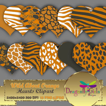 """80% OFF Sale WILD About Orange Hearts 8"""" clipart, commercial use, digital scrapbook papers, vector graphics, printable, Instant Download'"""