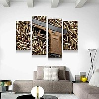 Glock 23 on a Bed of Bullets Canvas Set