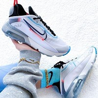 Bunchsun Nike Air Max 2090 New Women Men Fashionable Sport Running Shoes Sneakers White&Grey&Blue