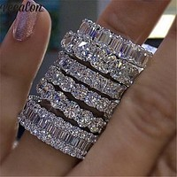Vecalon 8 styles Lustre Promise Wedding Band Ring 925 Sterling Silver AAAAA Zircon Cz Engagement rings for women men Jewelry