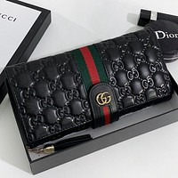 GUCCI New fashion stripe more letter print leather wallet purse handbag Black