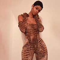 Crocodile Print Sexy Strapless Jumpsuit