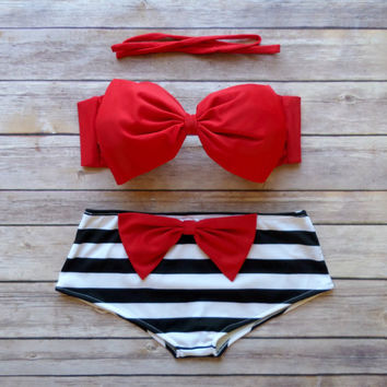 Bow Bandeau Bikini - Cheeky Boy Short Style Swimwear -  With Bow on Butt  - Pink with Stripes - Unique & So Cute!