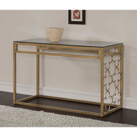 Quatrefoil Goldtone Metal and Glass Sofa Table   Overstock.com Shopping - The Best Deals on Coffee, Sofa & End Tables