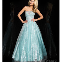 (PRE-ORDER) Tony Bowls 2014 Prom Dresses - Silver & Aqua Sequin Beaded Strapless Pleated Ball Gown