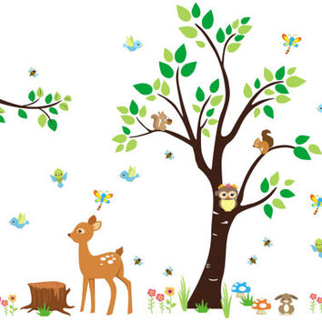 """Baby Room Forest Stickers, Cute Forest Decals, Forest Wall Decals, Woodland Wall Mural, Forest Nursery Decor, Nature Wall Decal - 85"""" x 114"""""""