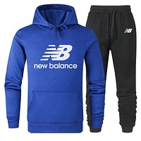New Balance new simple and versatile cotton sports two-piece suit Blue