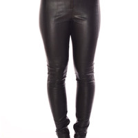 Owena Leather Look Fitted Trousers