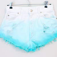 Colored Dyed Ripped Highwasted Shorts by BohoChildGarments on Etsy