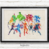Avengers, Age of Ultron, Watercolor Print, Baby Nursery Room Art, Home Decor, Not Framed, Buy 2 Get 1 Free