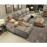 Luxury Sectional Fabric Sofa  With Electric Recliner Seat