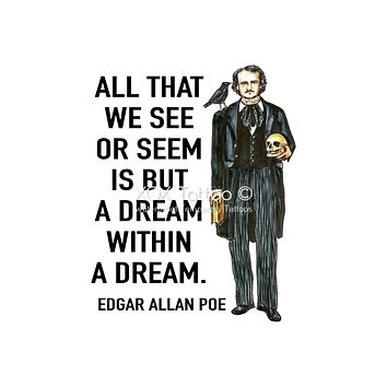 Dream within a Dream Edgar Allan Poe Quote Portrait Waterproof Temporary Tattoos Lasts 3 to 4 days Choose Small, Medium or Large Sizes