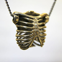 Bronze Human Rib Cage Necklace Anatomical Ribcage Pendant