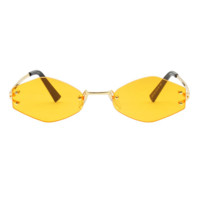 The Colorful Rimless Hexagon Sunglasses Yellow