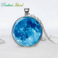 Full Moon Necklace Moon Pendant Galaxy Space  Blue AquaTurquoise  Jewelry Necklace for men  Art Gifts for Her(P11H01V01)