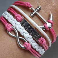 Infinity LOVE lovers bracelet--silver 8 infinity wish,LOVE and anchor leather bracelet,pink and white wax rope leather braided bracelet