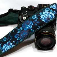 Blue Green Roses Camera Strap. Canon Nikon Camera Strap. Photo Camera Accessories. Gift Idea for Photographers.