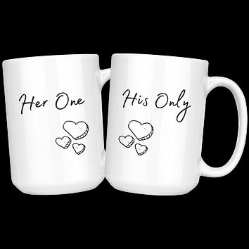 Her One, His Only Couples Coffee Mug Set, Valentines Day Mug Set, Lovers Cups, Gift for Husband, Gift for Wife, Anniversary Gift