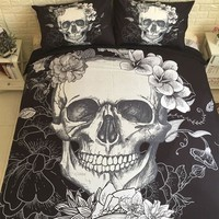 3pcs/lot Sugar Skull Print Queen Comforter Sets Bed Mattresses Bedding King Twin Size Luxury 3d Bed Cover Duvet Cover Sheets Se