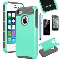 iPhone 4 Case, iPhone 4s Case, ULAK Fashion Rugged Durable Impact Resistant Shockproof Double Layer Case Cover for iPhone 4S and iPhone 4 (Light Blue/Gray)